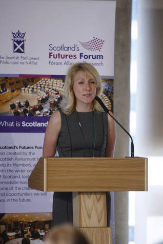 Stephanie Smith speaking at Scotland's Futures Forum
