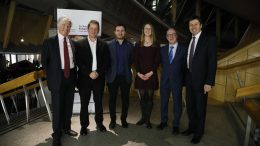 Sir Andrew Cubie, John Sparkes, Josh Littlejohn, Prof Suzanne Fitzpatrick Kevin Strewart MSP and Presiding Officer Ken Macintosh MSP pictured during the Futures Forum - Social Bite - Action Plan for Homelessness event.