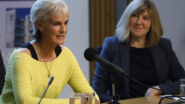 Judy Murray speaking at Parliament, next to Alison Johnstone MSP