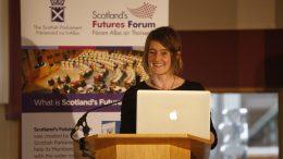 Karine Polwart, Scottish singer, songwriter, composer and essayist speaking at Scotland's Futures Forum launches its 'Scotland 2030' programme