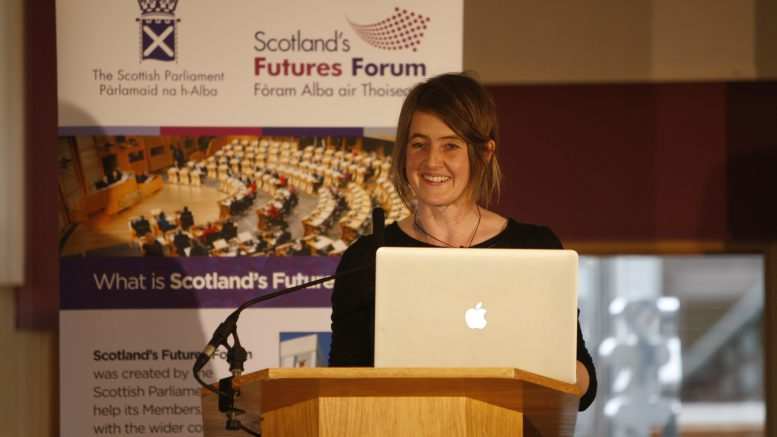 Karine Polwart, Scottish singer, songwriter, composer and essayist speaking at Scotland's Futures Forum launches its 'Scotland 2030' programme