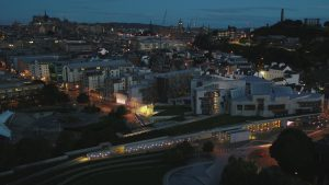 View of Scottish Parliament at dusk in winter