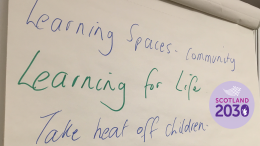 "Flipchart reading ""Learning for life"""