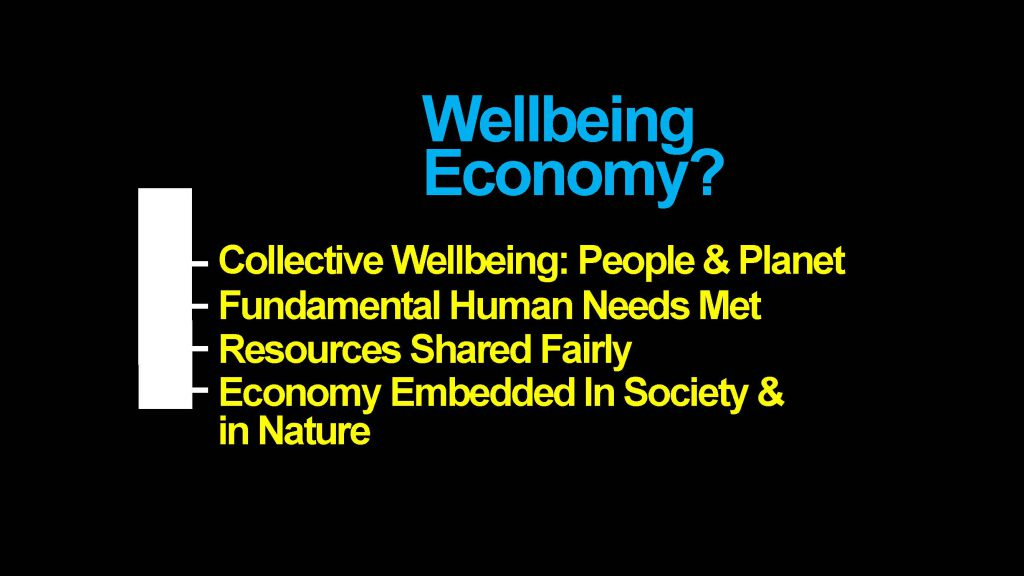 Slide text: Wellbeing Economy? Collective wellbeing, people and planet; Fundamental human needs met; Resources shared fairly; Economy embedded in society and in nature