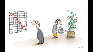 Cartoon of man looking at graph with downward red line and woman watering plant that looks like upward green graph