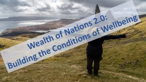 Text over image of Scottish countryside: Wealth of Nations 2.0 - Building the Conditions of Wellbeing