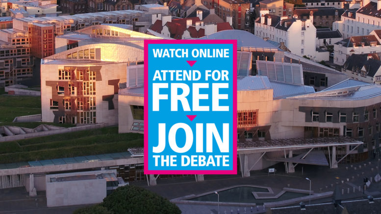 View of Scottish Parliament with caption: Watch online, attend for free, join the debate