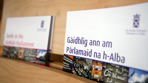 Gaelic signage and leaflets situated in the Main hall of the Scottish Parliament. Pic - Andrew Cowan/Scottish Parliament