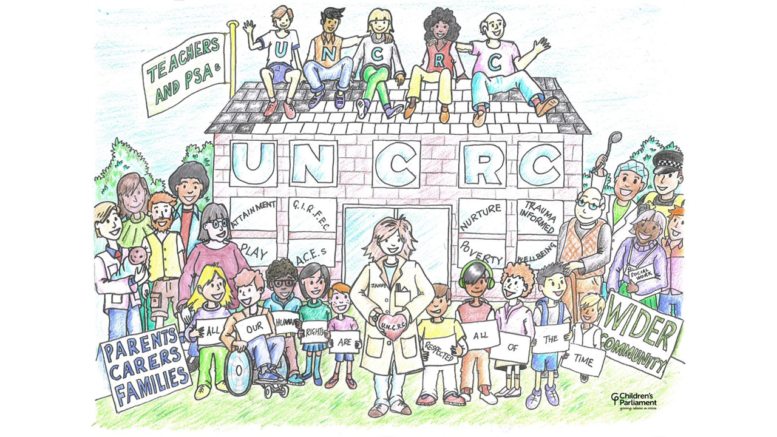 Drawing of a school with UNCRC