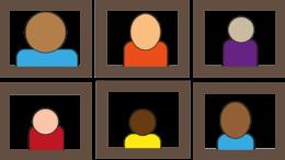 Cartoon image of online meeting